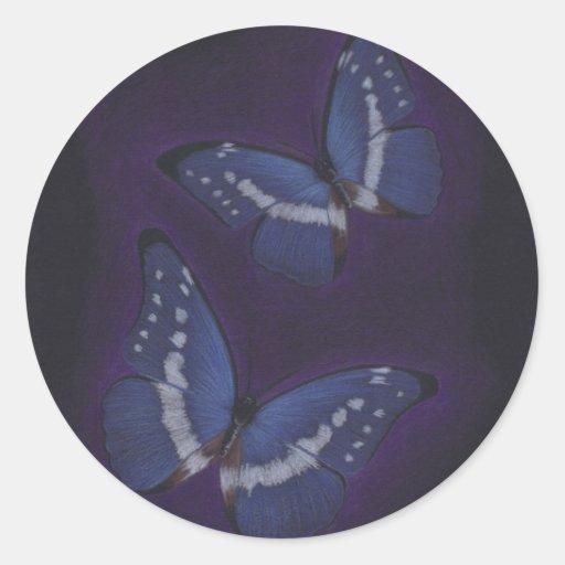 Mariposas 01 pegatinas redondas