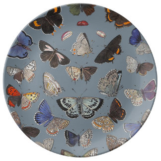 Mariposas, 1842 plato de cerámica