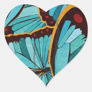 Mariposas abstractas 1 pegatina de corazon