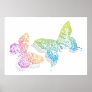 mariposas abstractas coloridas con la sombra poster