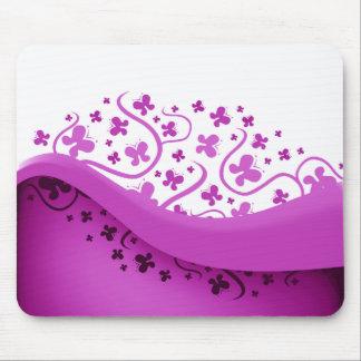 Mariposas abstractas púrpuras y blancas alfombrillas de ratones