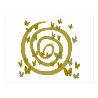 Mariposas al azar y remolino grande, oro y plata postales