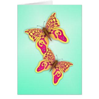 Mariposas amarillas tarjeta de felicitación