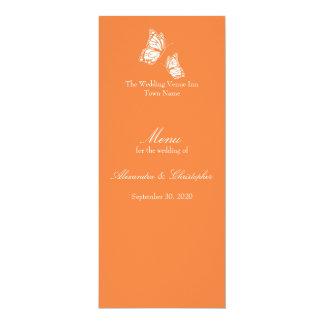 """Mariposas anaranjadas simples que casan el menú invitación 4"""" x 9.25"""""""