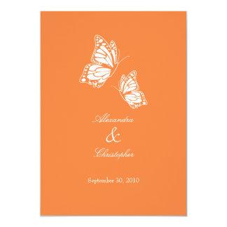 """Mariposas anaranjadas simples que casan la invitación 5"""" x 7"""""""
