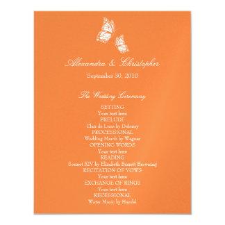 """Mariposas anaranjadas simples que casan programa invitación 4.25"""" x 5.5"""""""