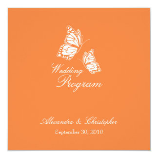 """Mariposas anaranjadas simples que casan programa invitación 5.25"""" x 5.25"""""""