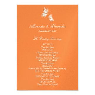 """Mariposas anaranjadas simples que casan programa invitación 5"""" x 7"""""""