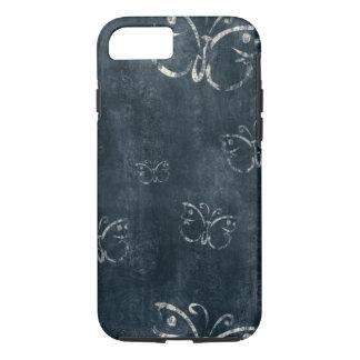Mariposas antiguas en azul marino funda iPhone 7