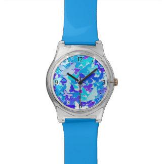 Mariposas, azul, turquesa, lavanda reloj