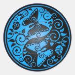 Mariposas, azul y negro de Yin Yang Pegatinas