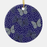 Mariposas azules adorno navideño redondo de cerámica