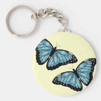 Mariposas azules artsy llavero redondo tipo pin