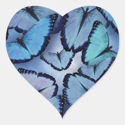 Mariposas azules de Morpho Pegatina De Corazón Personalizadas