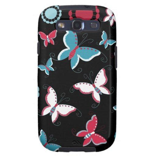 Mariposas azules del rosa bonito de la primavera p galaxy s3 cárcasa