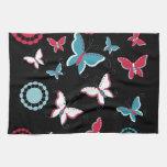 Mariposas azules del rosa bonito de la primavera p toallas de cocina