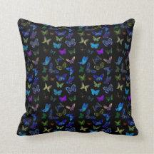 Mariposas azules en negro almohada