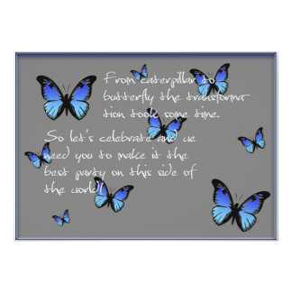 """mariposas azules invitación 5"""" x 7"""""""