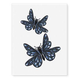 Mariposas azules tatuajes temporales