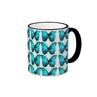 Mariposas azules taza de café