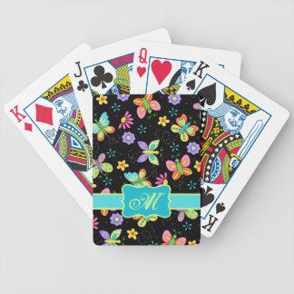 Mariposas banales modernas en monograma negro baraja cartas de poker
