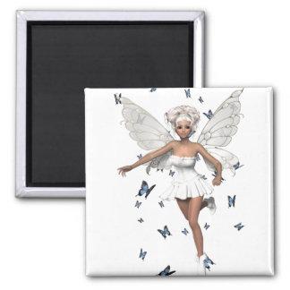 Mariposas blancas de hadas del azul del Minidress Imán Para Frigorífico