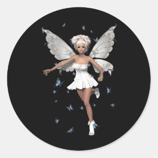 Mariposas blancas de hadas del azul del Minidress Etiquetas Redondas