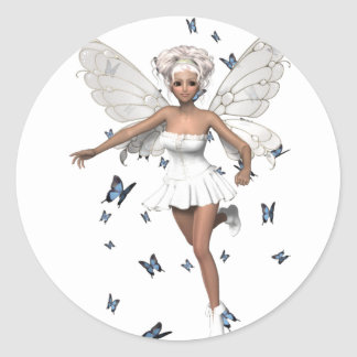 Mariposas blancas de hadas del azul del Minidress Etiqueta Redonda