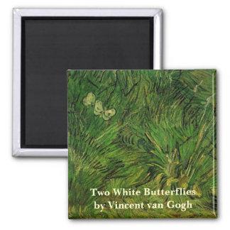 Mariposas blancas de Van Gogh dos, bella arte del Iman De Nevera
