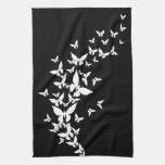 Mariposas blancas en negro toallas de cocina