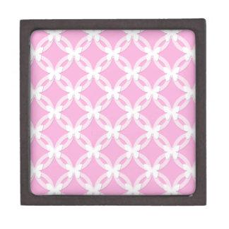 Mariposas blancas rosadas de repetición circulares caja de joyas de calidad