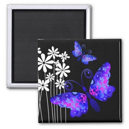 """Mariposas bonitas"" (añil) por Cheryl Daniels Imán Para Frigorífico"