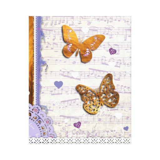 Mariposas bonitas de la púrpura y del oro y collag lienzo envuelto para galerias