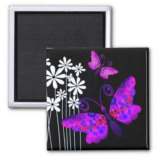 """Mariposas bonitas"" (púrpura) por Cheryl Daniels Imán Cuadrado"