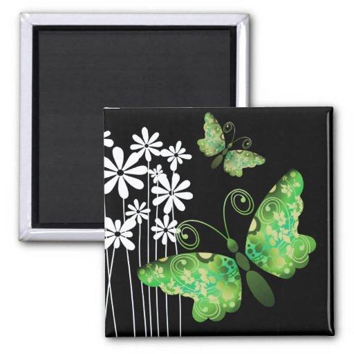 """Mariposas bonitas"" (verde) por Cheryl Daniels Imán De Frigorifico"