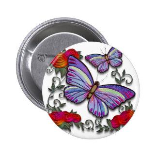 mariposas bordadas pin redondo de 2 pulgadas