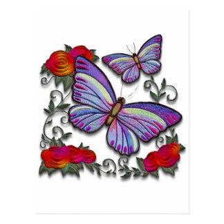 mariposas bordadas tarjeta postal