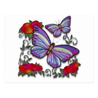 mariposas bordadas tarjetas postales