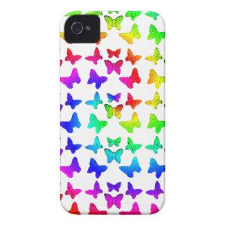 Mariposas brillantes del remolino del arco iris Case-Mate iPhone 4 carcasa