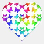 Mariposas brillantes del remolino del arco iris calcomanía de corazón personalizadas