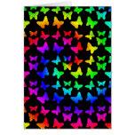 Mariposas brillantes del remolino del arco iris felicitaciones