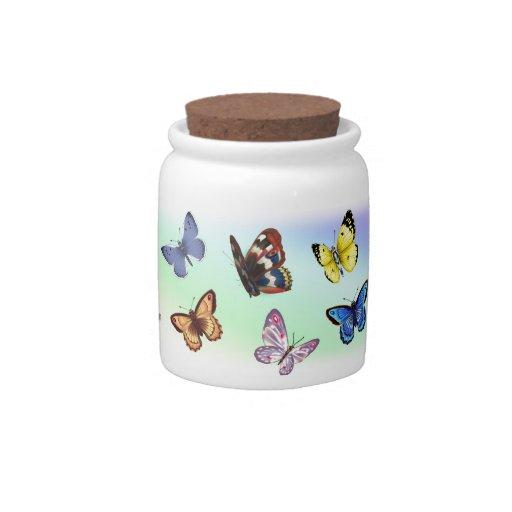 Mariposas brillantes jarra para caramelo