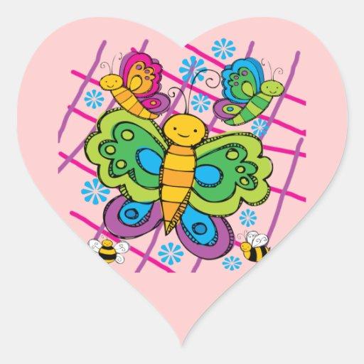 Mariposas Calcomanía De Corazón