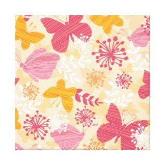 Mariposas caprichosas rosa y naranja femeninos impresiones en lona estiradas