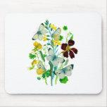 Mariposas, capuchinas y WIldflowers blancos Tapete De Raton