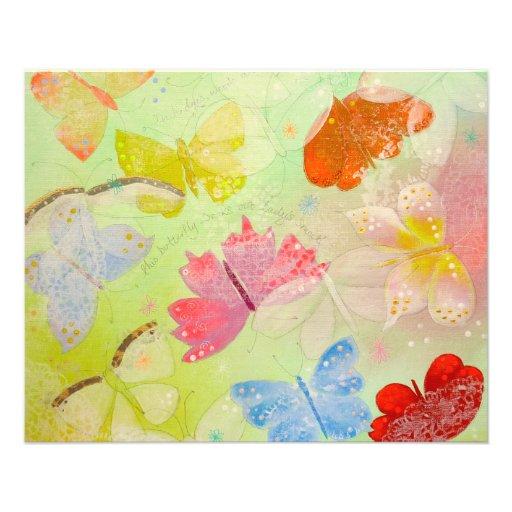 "Mariposas coloridas bonitas folleto 4.5"" x 5.6"""