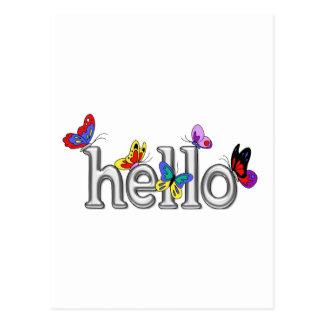 Mariposas coloridas en el cromo hola tarjeta postal