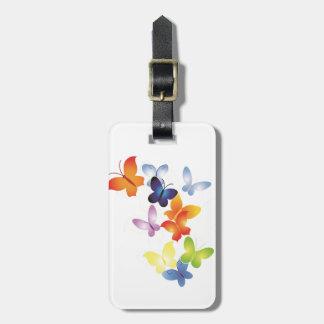Mariposas coloridas etiqueta para equipaje