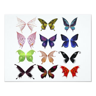 "Mariposas coloridas invitación 4.25"" x 5.5"""