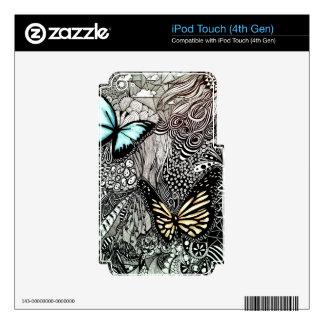 Mariposas con diseño blanco y negro calcomanía para iPod touch 4G